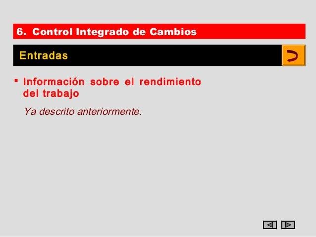 6. Control Integrado de Cambios Entradas Información sobre el rendimiento  del trabajo Ya descrito anteriormente.