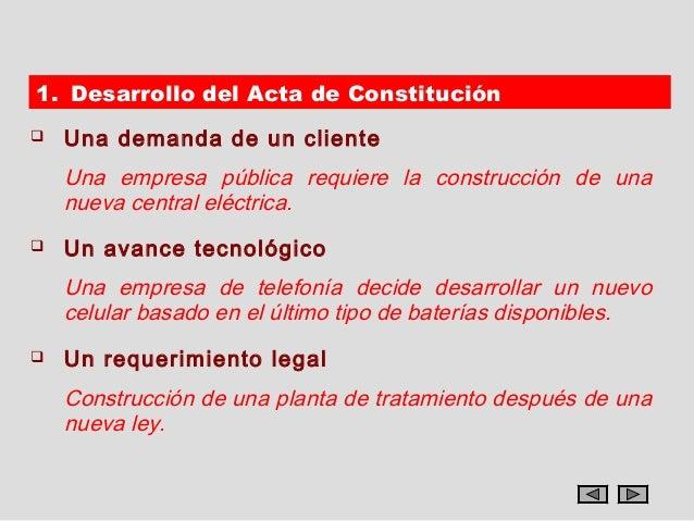 1. Desarrollo del Acta de Constitución   Una demanda de un cliente    Una empresa pública requiere la construcción de una...
