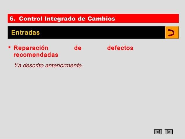 6. Control Integrado de CambiosEntradas Reparación           de     defectos  recomendadas Ya descrito anteriormente.