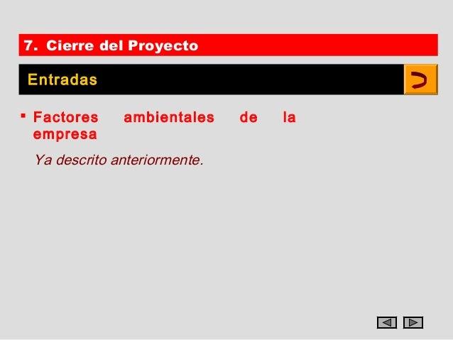 7. Cierre del Proyecto Entradas Factores    ambientales     de   la  empresa Ya descrito anteriormente.