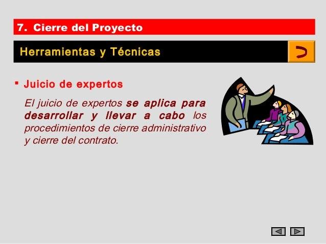 7. Cierre del Proyecto Herramientas y Técnicas Juicio de expertos El juicio de expertos se aplica para desarrollar y llev...