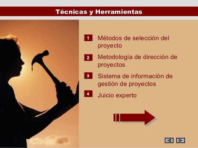 Técnicas y Herramientas        1   Métodos de selección del            proyecto        2   Metodología de dirección de    ...