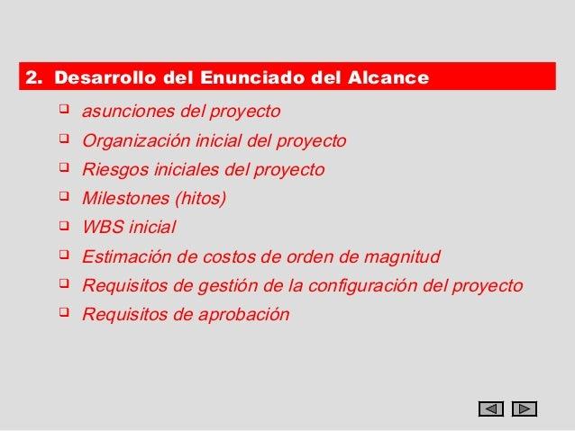 2. Desarrollo del Enunciado del Alcance      asunciones del proyecto      Organización inicial del proyecto      Riesgo...