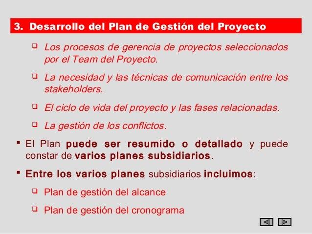 3. Desarrollo del Plan de Gestión del Proyecto      Los procesos de gerencia de proyectos seleccionados       por el Team...