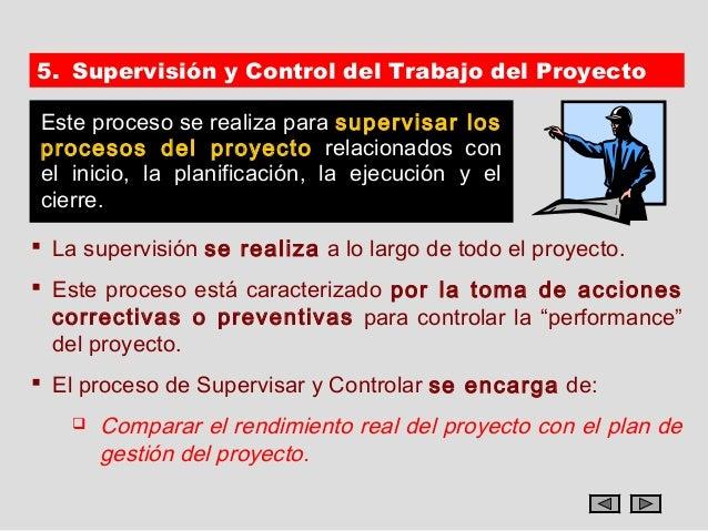 5. Supervisión y Control del Trabajo del ProyectoEste proceso se realiza para supervisar losprocesos del proyecto relacion...