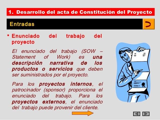 1. Desarrollo del acta de Constitución del ProyectoEntradas Enunciado      del    trabajo     del  proyecto El enunciado ...