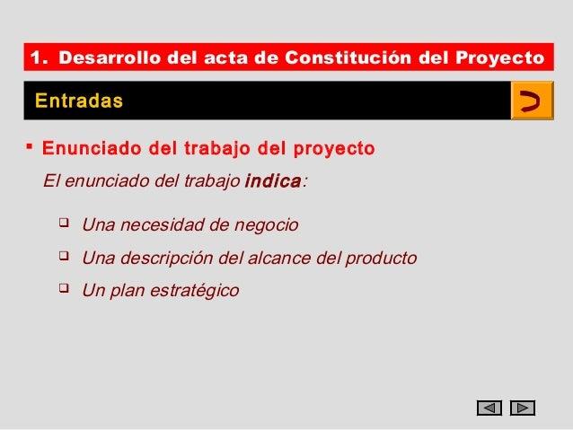 1. Desarrollo del acta de Constitución del Proyecto Entradas Enunciado del trabajo del proyecto El enunciado del trabajo ...