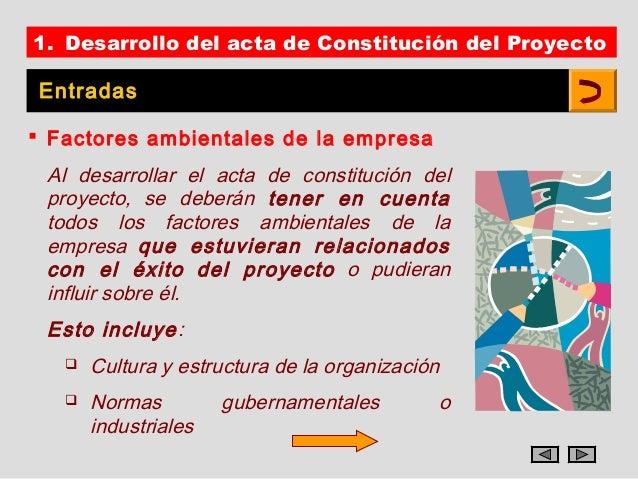 1. Desarrollo del acta de Constitución del Proyecto Entradas Factores ambientales de la empresa Al desarrollar el acta de...