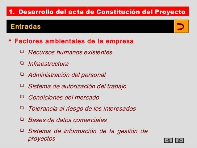 1. Desarrollo del acta de Constitución del ProyectoEntradas Factores ambientales de la empresa      Recursos humanos exi...