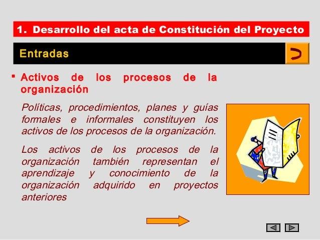 1. Desarrollo del acta de Constitución del Proyecto Entradas Activos de los       procesos     de   la  organización Polí...