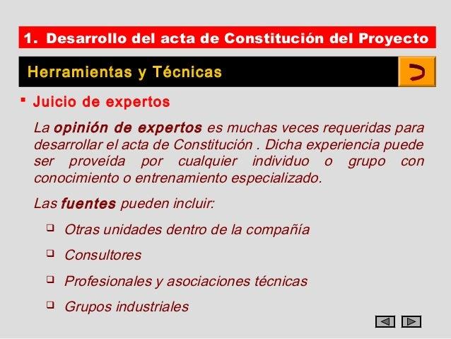 1. Desarrollo del acta de Constitución del Proyecto Herramientas y Técnicas Juicio de expertos La opinión de expertos es ...