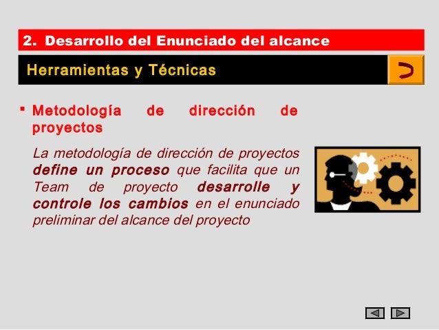 2. Desarrollo del Enunciado del alcance Herramientas y Técnicas Metodología     de    dirección     de  proyectos La meto...