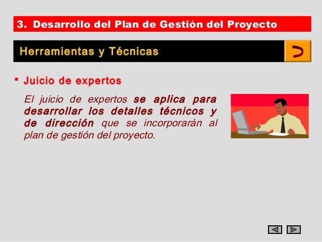 3. Desarrollo del Plan de Gestión del Proyecto Herramientas y Técnicas Juicio de expertos El juicio de expertos se aplica...