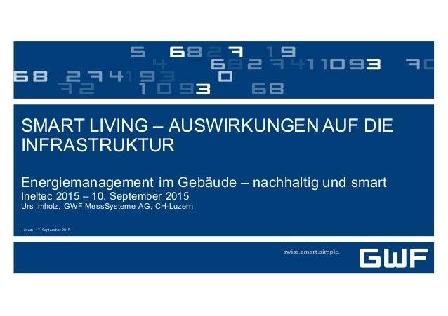 Luzern, 17. September 2015 SMART LIVING – AUSWIRKUNGEN AUF DIE  INFRASTRUKTUR Energiemanagement im Gebäude – na...