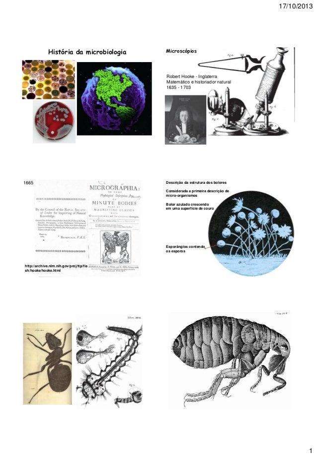 17/10/2013  História da microbiologia  Microscópios  Robert Hooke - Inglaterra Matemático e historiador natural 1635 - 170...
