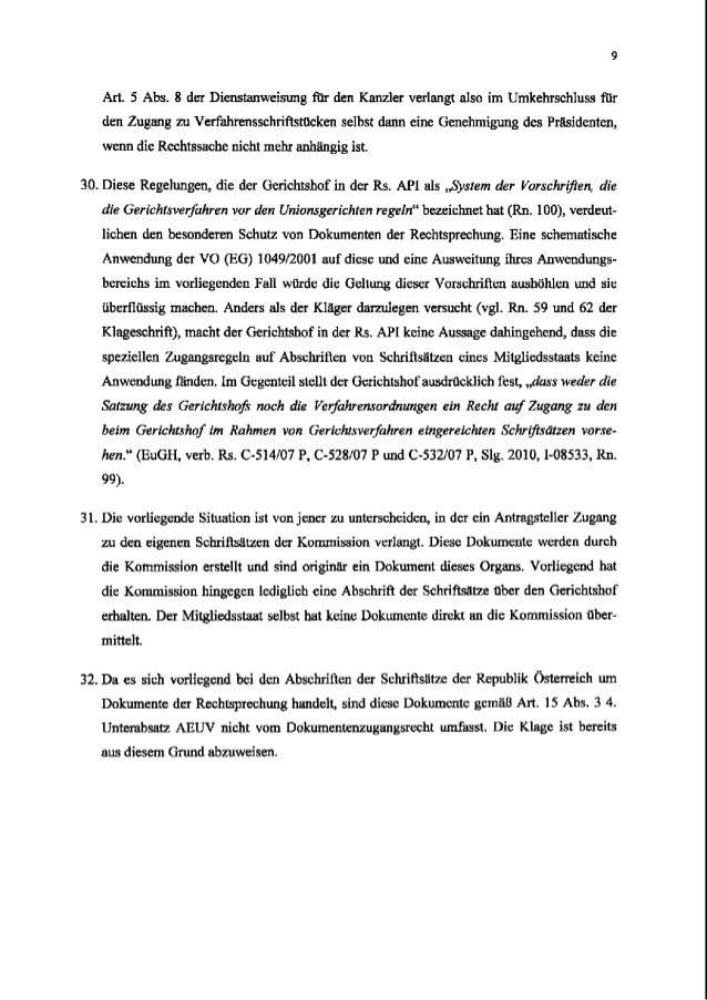 ArL 5 Abs. 8 der Dienstanweisung ihr den Kanzler verlangt also im Umkehrschluss fltr den Zugang zu Verfahrensschriflstacke...