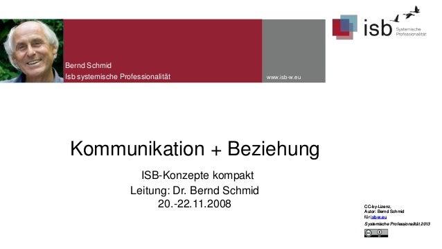 Bernd Schmid Isb systemische Professionalität  www.isb-w.eu  Kommunikation + Beziehung ISB-Konzepte kompakt Leitung: Dr. B...