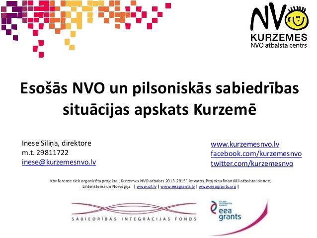 Esošās NVO un pilsoniskās sabiedrības  situācijas apskats Kurzemē  Inese Siliņa, direktore  m.t. 29811722  inese@kurzemesn...
