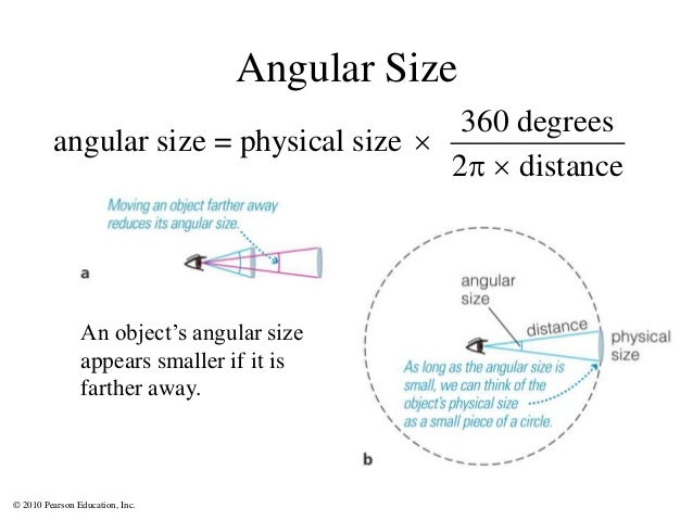 © 2010 Pearson Education, Inc. Angular Size 360 degrees angular size = physical size 2 distance    An object's angular ...
