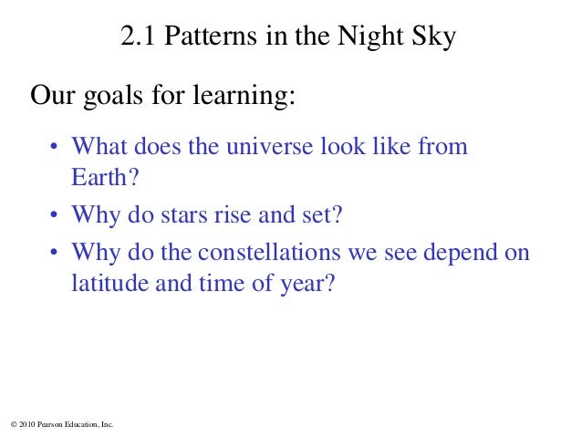 © 2010 Pearson Education, Inc. 2.1 Patterns in the Night Sky • What does the universe look like from Earth? • Why do stars...