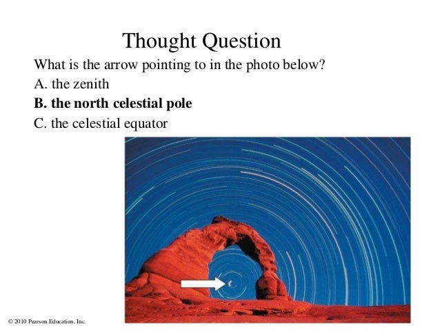 © 2010 Pearson Education, Inc. Thought Question What is the arrow pointing to in the photo below? A. the zenith B. the nor...