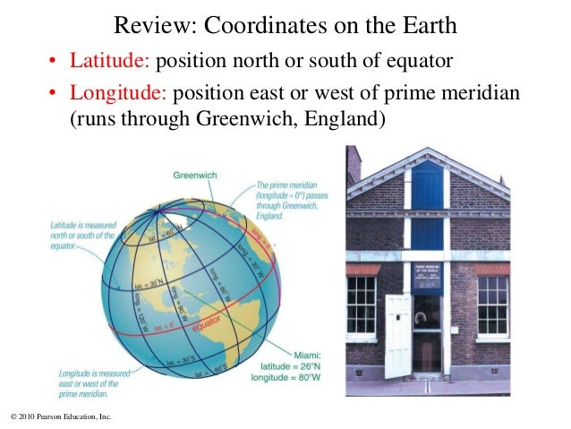 © 2010 Pearson Education, Inc. Review: Coordinates on the Earth • Latitude: position north or south of equator • Longitude...