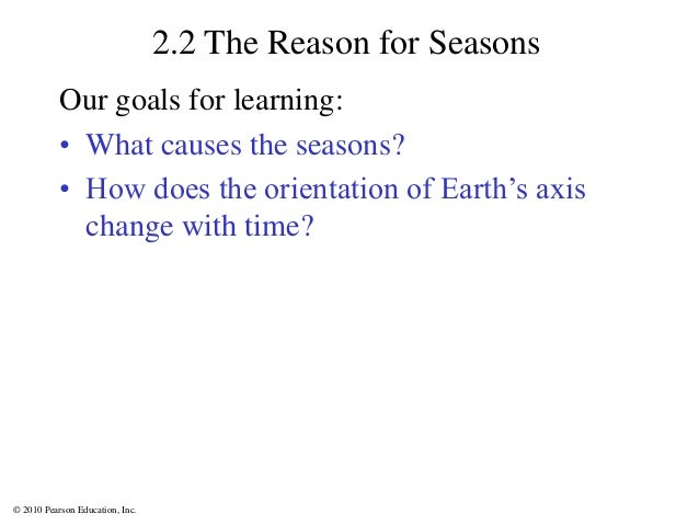 © 2010 Pearson Education, Inc. 2.2 The Reason for Seasons Our goals for learning: • What causes the seasons? • How does th...