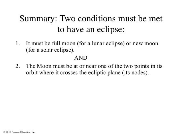 © 2010 Pearson Education, Inc. Summary: Two conditions must be met to have an eclipse: 1. It must be full moon (for a luna...