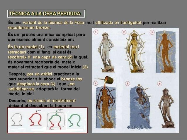 TÈCNICA A LA CERA PERDUDA És una variant de la tècnica de la Fosa molt utilitzada en l'antiguitat per realitzar escultures...