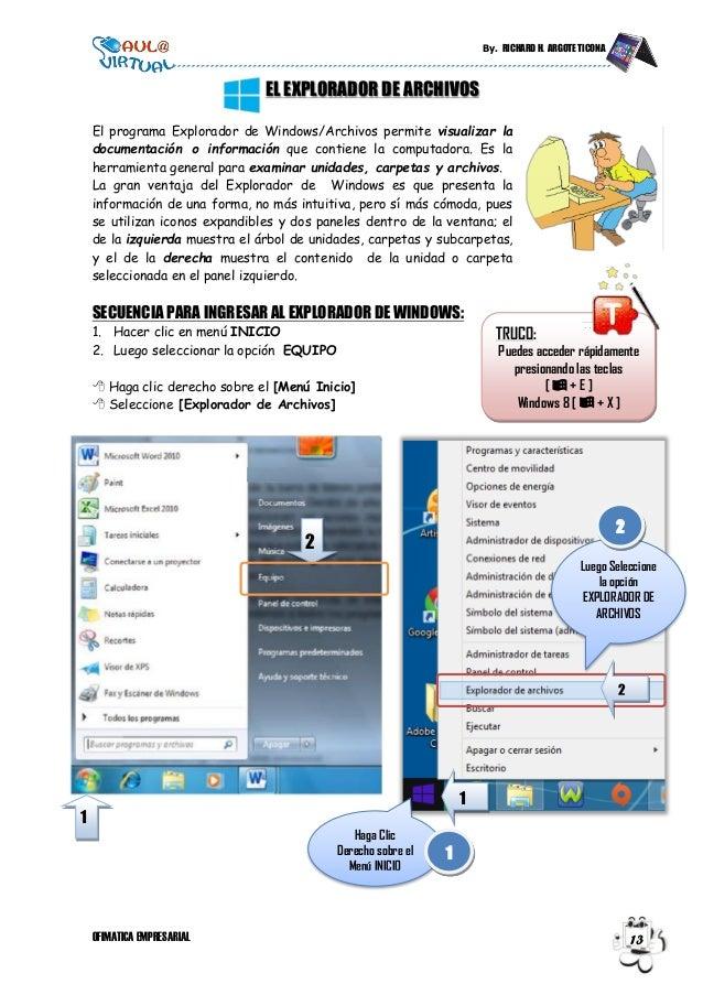 By. RICHARD H. ARGOTE TICONA OFIMATICA EMPRESARIAL 13 EL EXPLORADOR DE ARCHIVOS El programa Explorador de Windows/Archivos...