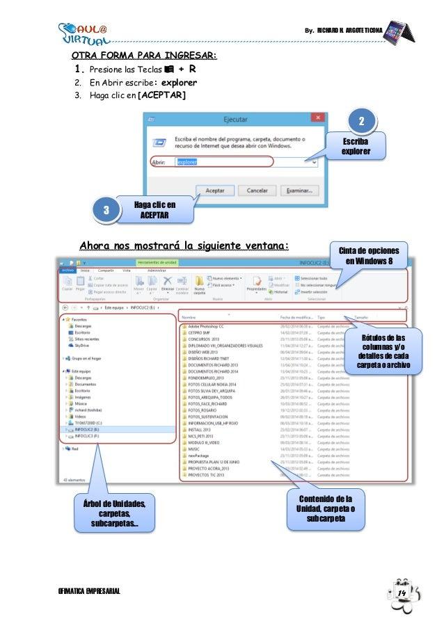 By. RICHARD H. ARGOTE TICONA OFIMATICA EMPRESARIAL 14 OTRA FORMA PARA INGRESAR: 1. Presione las Teclas  + R 2. En Abrir e...
