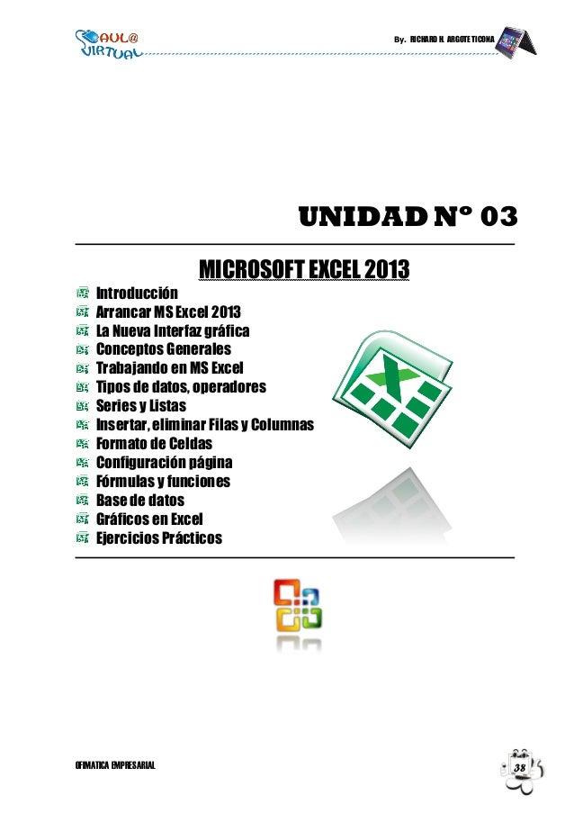 By. RICHARD H. ARGOTE TICONA OFIMATICA EMPRESARIAL 38 UNIDAD Nº 03 MICROSOFT EXCEL 2013 Introducción Arrancar MS Excel 201...
