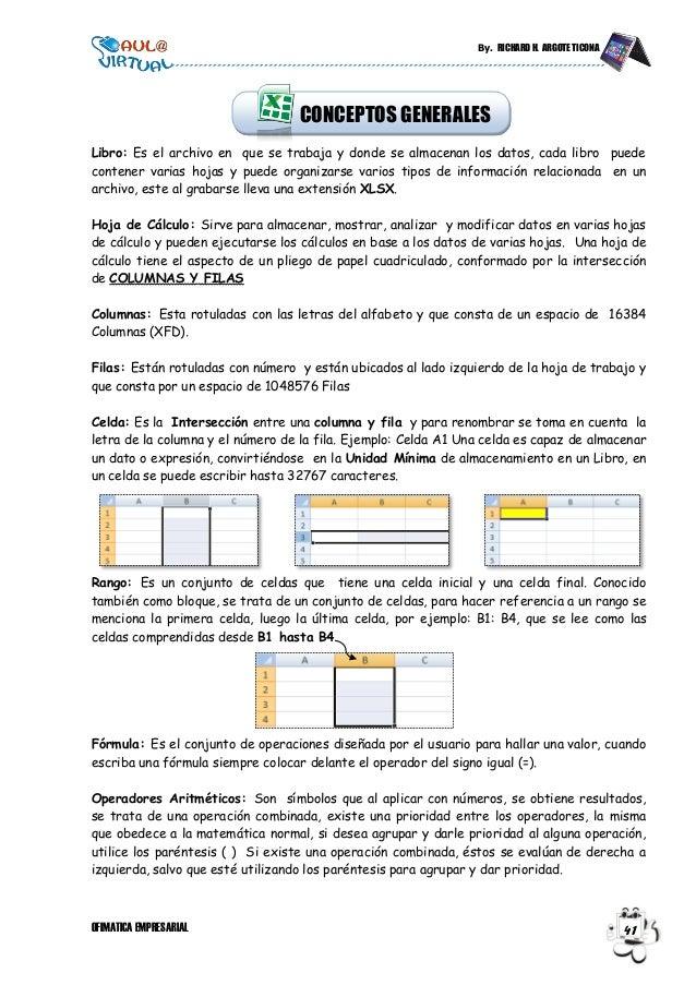 By. RICHARD H. ARGOTE TICONA OFIMATICA EMPRESARIAL 41 Libro: Es el archivo en que se trabaja y donde se almacenan los dato...
