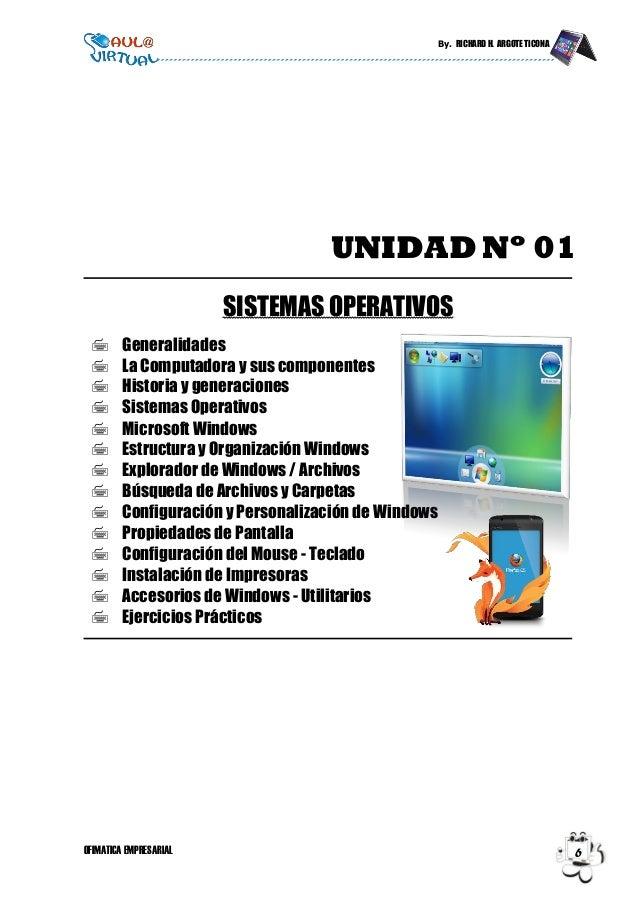 By. RICHARD H. ARGOTE TICONA OFIMATICA EMPRESARIAL 6 UNIDAD Nº 01 SISTEMAS OPERATIVOS  Generalidades  La Computadora y s...