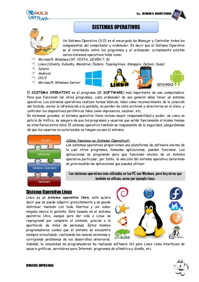By. RICHARD H. ARGOTE TICONA OFIMATICA EMPRESARIAL 7 Un Sistema Operativo (S.O) es el encargado de Manejar y Controlar tod...