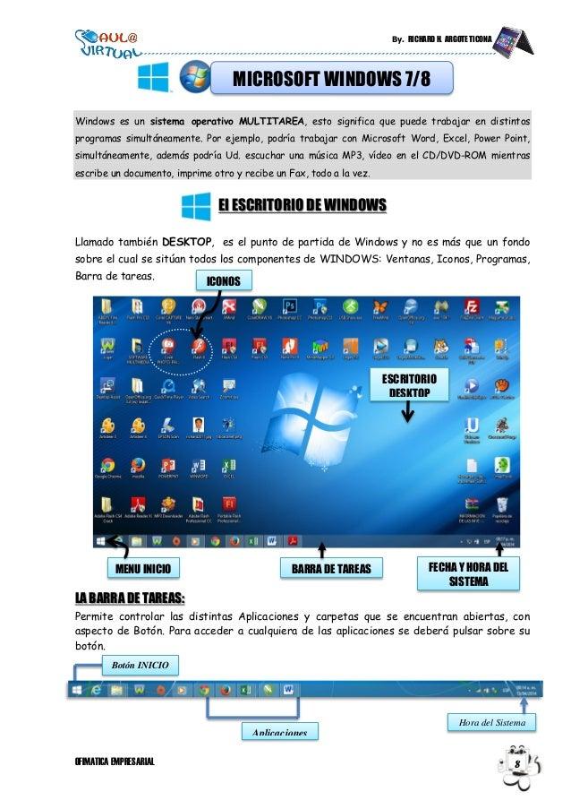 By. RICHARD H. ARGOTE TICONA OFIMATICA EMPRESARIAL 8 Windows es un sistema operativo MULTITAREA, esto significa que puede ...
