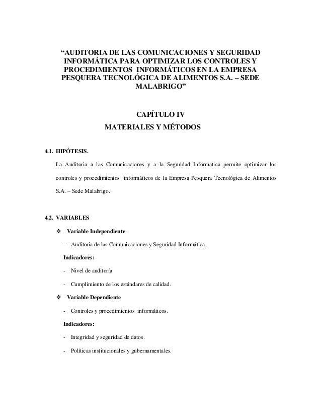 """""""AUDITORIA DE LAS COMUNICACIONES Y SEGURIDAD  INFORMÁTICA PARA OPTIMIZAR LOS CONTROLES Y  PROCEDIMIENTOS INFORMÁTICOS EN L..."""