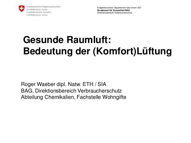 Eidgenössisches Departement des Innern EDI  Bundesamt für Gesundheit BAG  Direktionsbereich Verbraucherschutz  Gesunde Rau...