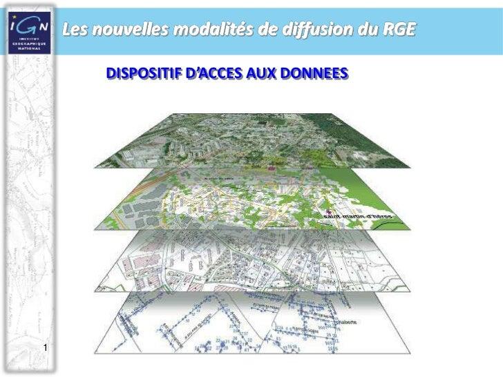 1<br />DISPOSITIF D'ACCES AUX DONNEES<br />Les nouvelles modalités de diffusion du RGE <br />