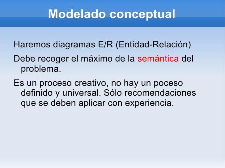 Modelado conceptual <ul><li>Haremos diagramas E/R (Entidad-Relación)