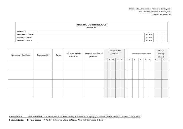 02 modelo registro de interesados pmi for Ejemplo proyecto completo pmbok