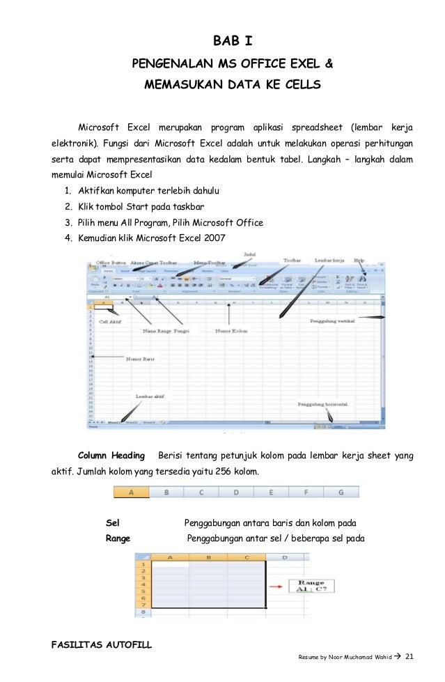 BAB I PENGENALAN MS OFFICE EXEL & MEMASUKAN DATA KE CELLS Microsoft Excel merupakan program aplikasi spreadsheet (lembar k...