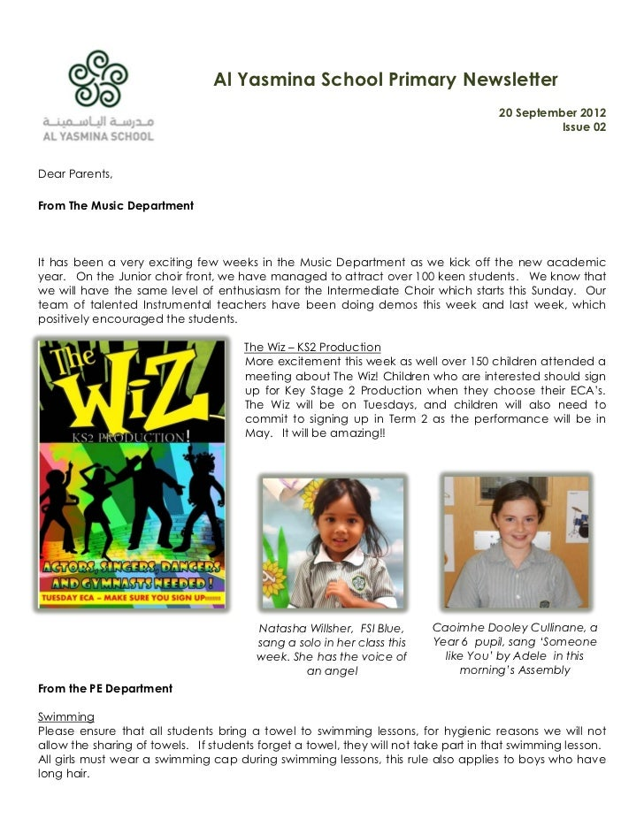 Al Yasmina School Primary Newsletter                                                                                     2...