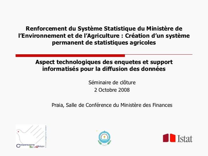 Renforcement du Système Statistique du Ministère de l'Environnement et de l'Agriculture: Création d'un système permanent ...