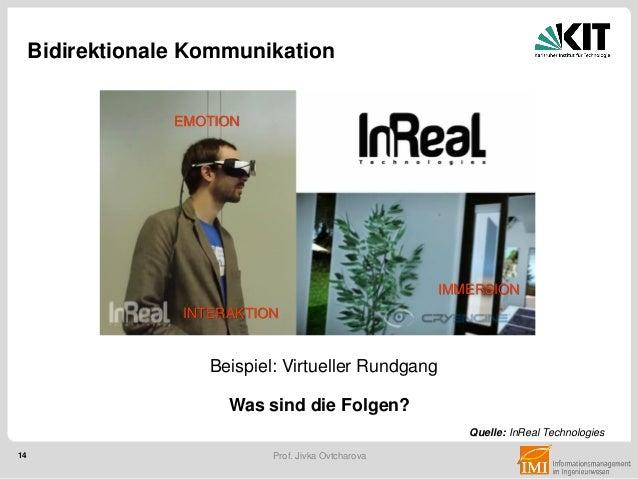 14 Prof. Jivka Ovtcharova Quelle: InReal Technologies Bidirektionale Kommunikation INTERAKTION EMOTION IMMERSION Beispiel:...
