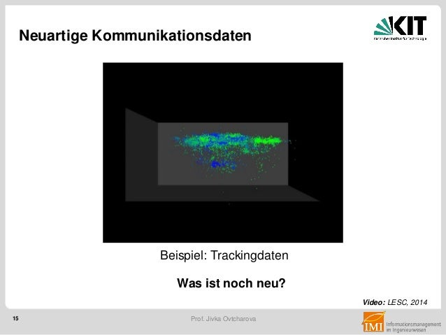 15 Prof. Jivka Ovtcharova Neuartige Kommunikationsdaten Video: LESC, 2014 Was ist noch neu? Beispiel: Trackingdaten