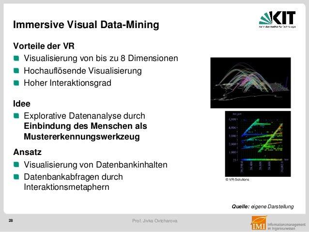 28 Prof. Jivka Ovtcharova Immersive Visual Data-Mining Vorteile der VR Visualisierung von bis zu 8 Dimensionen Hochauflöse...