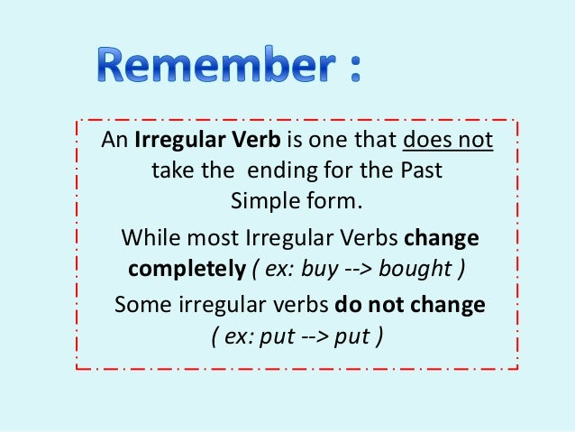 past tense of irregular verbs year 4