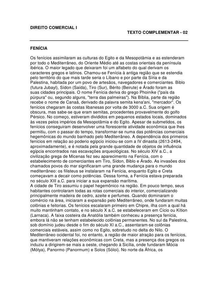 DIREITO COMERCIAL I                                                    TEXTO COMPLEMENTAR - 02   FENÍCIA  Os fenícios assi...