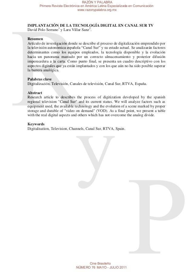 RAZÓN Y PALABRA       Primera Revista Electrónica en América Latina Especializada en Comunicación                         ...